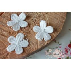Кружевные цветочки, хлопок, 3.5 см, цвет сливочный, 1 шт