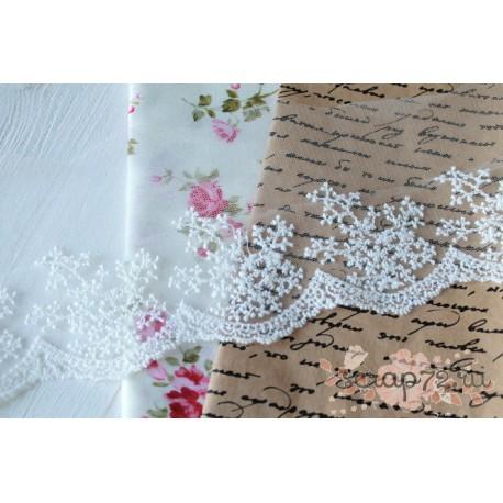 Кружево декоративное на сетке, 10 см, цвет белый, 90см
