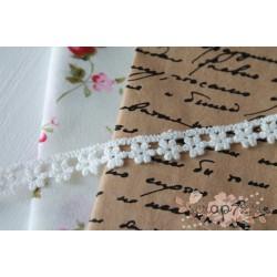 Кружево декоративное, хлопок, 1 см, цвет белый, 90см