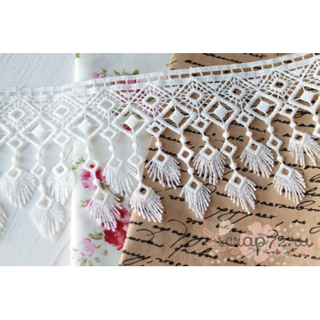 Кружево декоративное, хлопок, 9 см, цвет белый, 90см