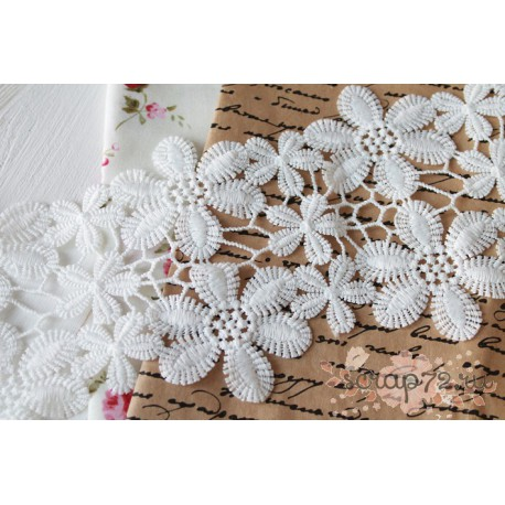Кружево декоративное, хлопок, 11 см, цвет белый, 90см
