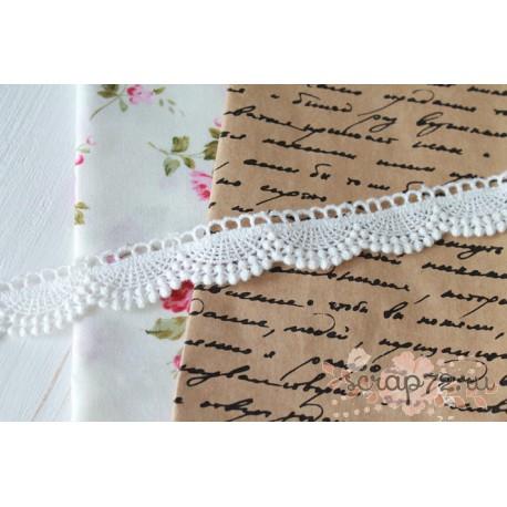Кружево декоративное, хлопок, 2 см, цвет белый, 90см