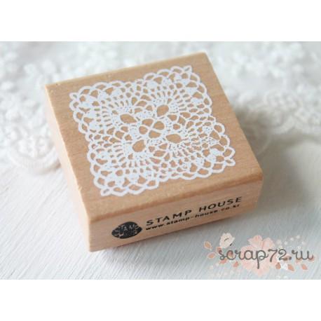 Резиновый штамп на деревянной основе, 45*45мм, 1шт