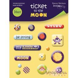 Набор эпоксидных наклеек 16шт от Scrapmir Ticket to the Moon