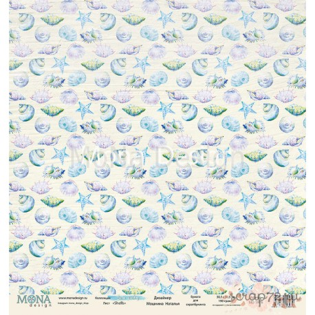 Лист бумаги для скрапбукинга 30,5х30,5 см 190 гр/м односторон Shells - Sea party