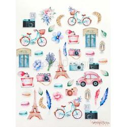 Набор высечек Однажды в Париже, 43 элемента 220 гр/м2