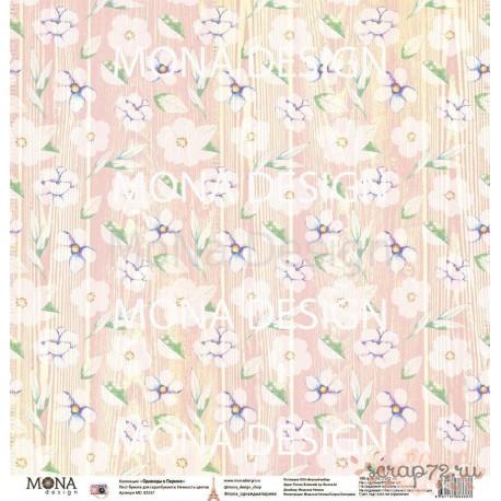 """Лист бумаги для скрапбукинга 30,5х30,5 см 190 гр/м односторон Нежность цветов """"Однажды в Париже"""""""