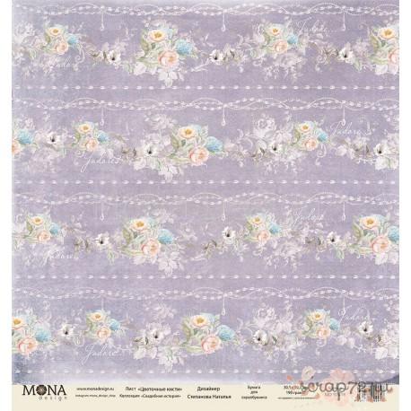 Лист бумаги для скрапбукинга 30,5х30,5 см 190 гр/м односторон Цветочные кисти (Свадебная история)