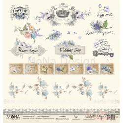 """Лист бумаги для скрапбукинга 30,5х30,5 см 190 гр/м односторон Карточки """"Свадебная история"""""""
