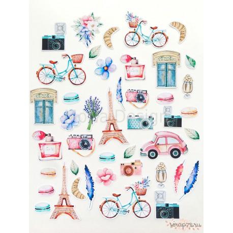 Набор высечек Цветы, коллекция Однажды в Париже, 52 элемента 220 гр/м2