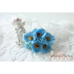 Тканевый цветок, цвет голубой, 1шт