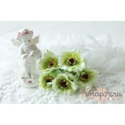 Тканевый цветок, цвет лайм, 1шт