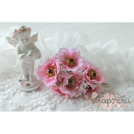 Тканевый цветок, цвет розовый, 1шт