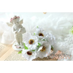 Тканевый цветок, цвет белый, 1шт
