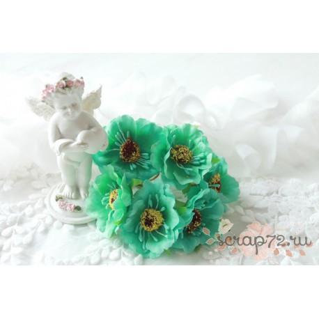 Тканевый цветок, цвет Тиффани, 1шт