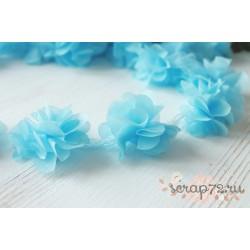 Шифоновые цветочки, цвет голубой, диаметр 5см, 1шт