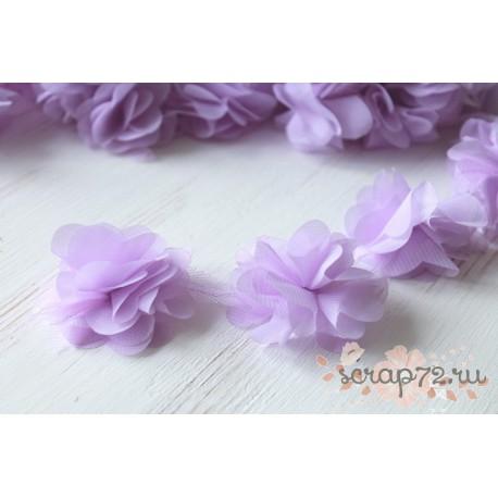 Шифоновые цветочки, цвет лиловый, диаметр 5см, 1шт