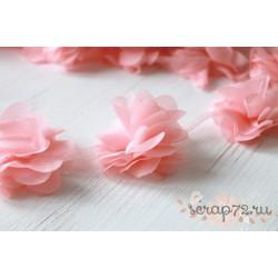 Шифоновые цветочки, цвет коралловый, диаметр 5см, 1шт