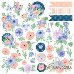 """Лист с картинками для вырезания. Набор """"Flower mood""""."""