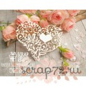 """Чипборд """"Кружевное сердце с цветами и листиками"""" 74*60 мм"""