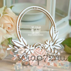 Чипборд круглая рамка с цветами 75*64 мм