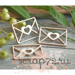 Чипборд письмо с сердечком 3 шт. 27*20 мм