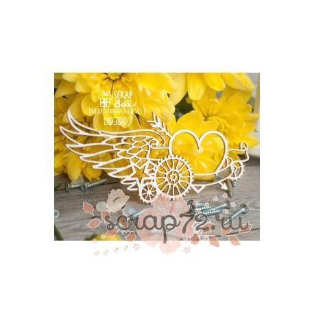 Чипборд стимпанк композиция с крылом Ht-050