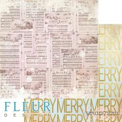 """Лист бумаги для скрапбукинга """"Веселые ноты"""", коллекция """"Волшебный лес"""", 30,5х30,5 см, плотность 190 гр, FD1005901"""