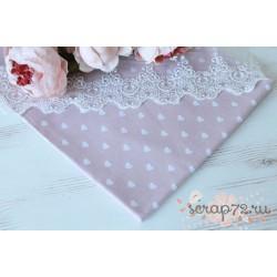 Хлопок Сердечки на нежно-розовом фоне, 145 g/m2, 40*50см