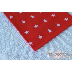 Хлопок Звезды на красном, 135 g/m2, 40*50см