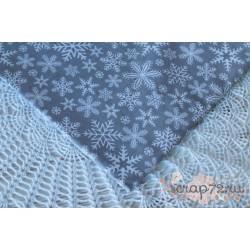 Хлопок Снежинки на сером фоне, 135 g/m2, 40*50см
