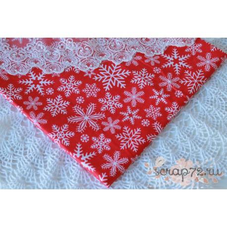 Хлопок Снежинки на красном фоне, 135 g/m2, 40*50см