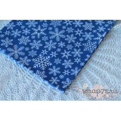 Хлопок Снежинки на синем фоне, 135 g/m2, 40*50см