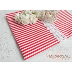 Хлопок Красная полоска на белом, 53*50см
