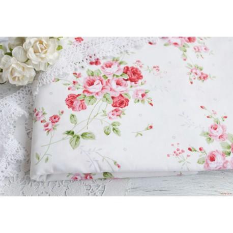Хлопок Красные розы на белом, 53*50см