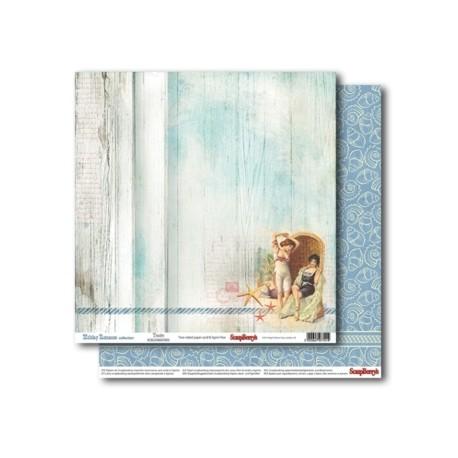 Бумага для скрапбукинга 30,5х30,5 см 180 гр/м двусторон Курортный Роман Нежные Воспоминания