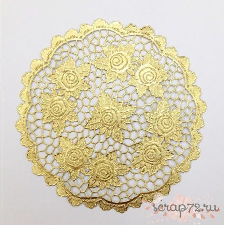Салфетка ажурная, цвет золото, 18см, 1шт