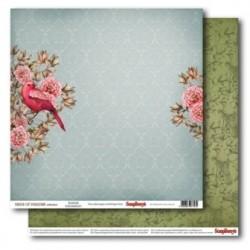 Бумага для скрапбукинга 30,5х30,5 см 180 гр/м двусторон Райские Птицы Птичьи Трели