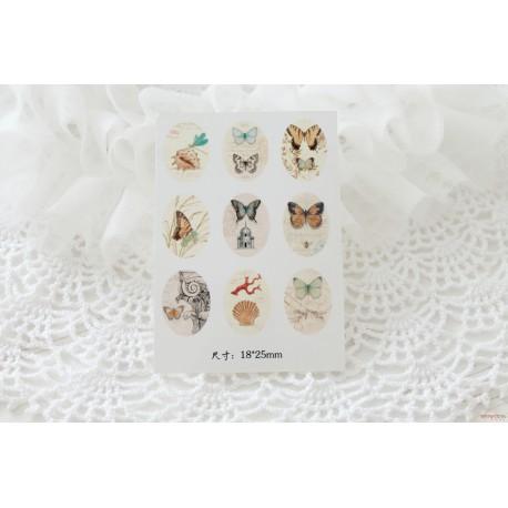 Карточка с картинками под кабошон Бабочки, 18*25мм