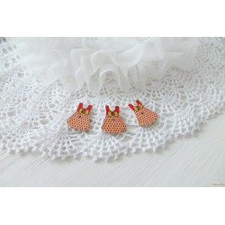 Деревянная пуговица Детское платьице, красный, 25*30мм, 1шт