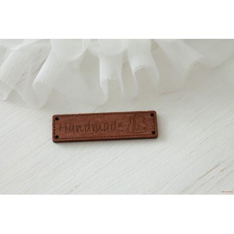 """Деревянный чипборд-шильдик """"Hand made9"""", 1 шт., 62х16 мм"""