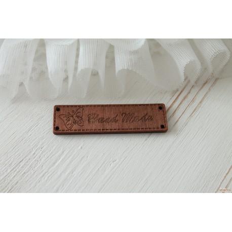 """Деревянный чипборд-шильдик """"Hand made4"""", 1 шт., 62х16 мм"""