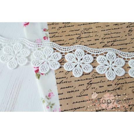 Кружево декоративное, 5.5 см, цвет белый, 90см