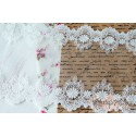 Кружево декоративное на сетке, 18 см, цвет белый, 90см