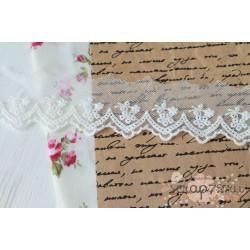 Кружево декоративное на сетке, 4.5см, цвет белый, 90см