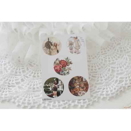 Карточка с картинками под кабошон Одри, 18*25мм