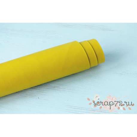 Кожзам, цвет желтый, 0.7мм, отрез 49*35 см