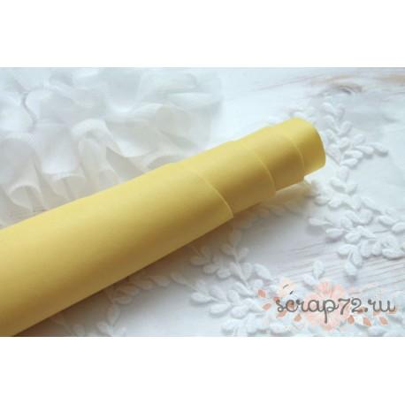 Кожзам, цвет желтый, 0.5мм, отрез 55*35 см
