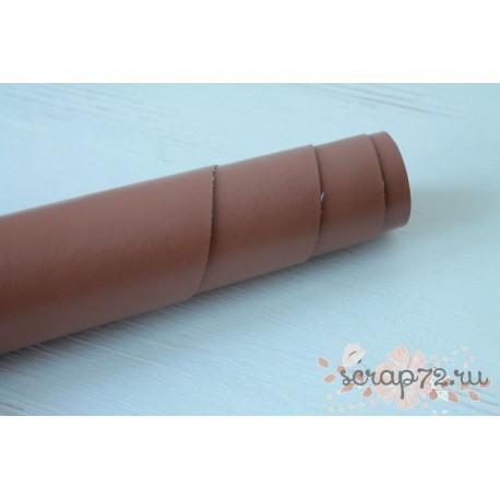 Кожзам, цвет коричневый, 0.7мм, отрез 49*35 см
