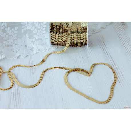 Пайетки на нитке, цвет золото, 6мм, 1ярд